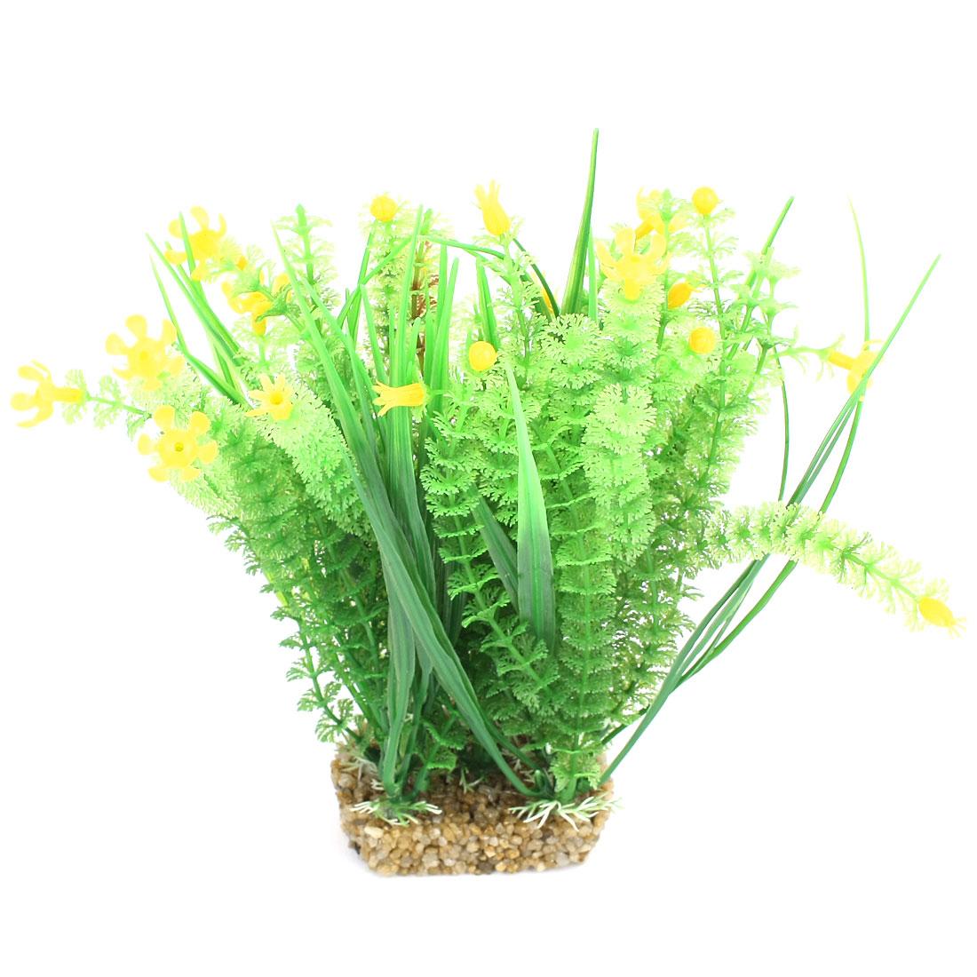 """Fish Tank Decor Emulational Yellow Flower Detail Green Water Grass 8.7"""" High"""