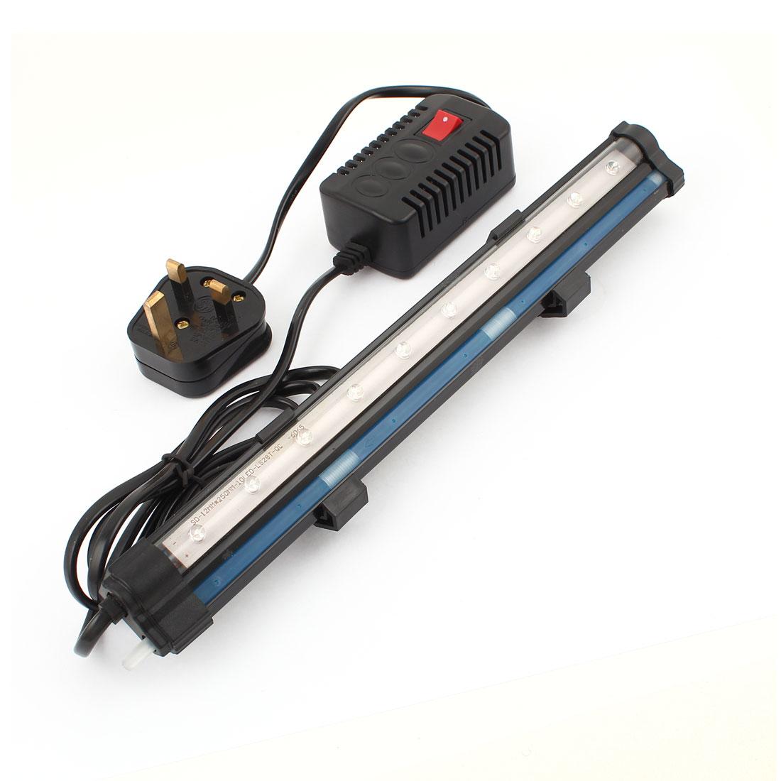 UK Plug AC 220V-240V Air Stone Multicolor 10 LEDs Light Fish Tank Lamp