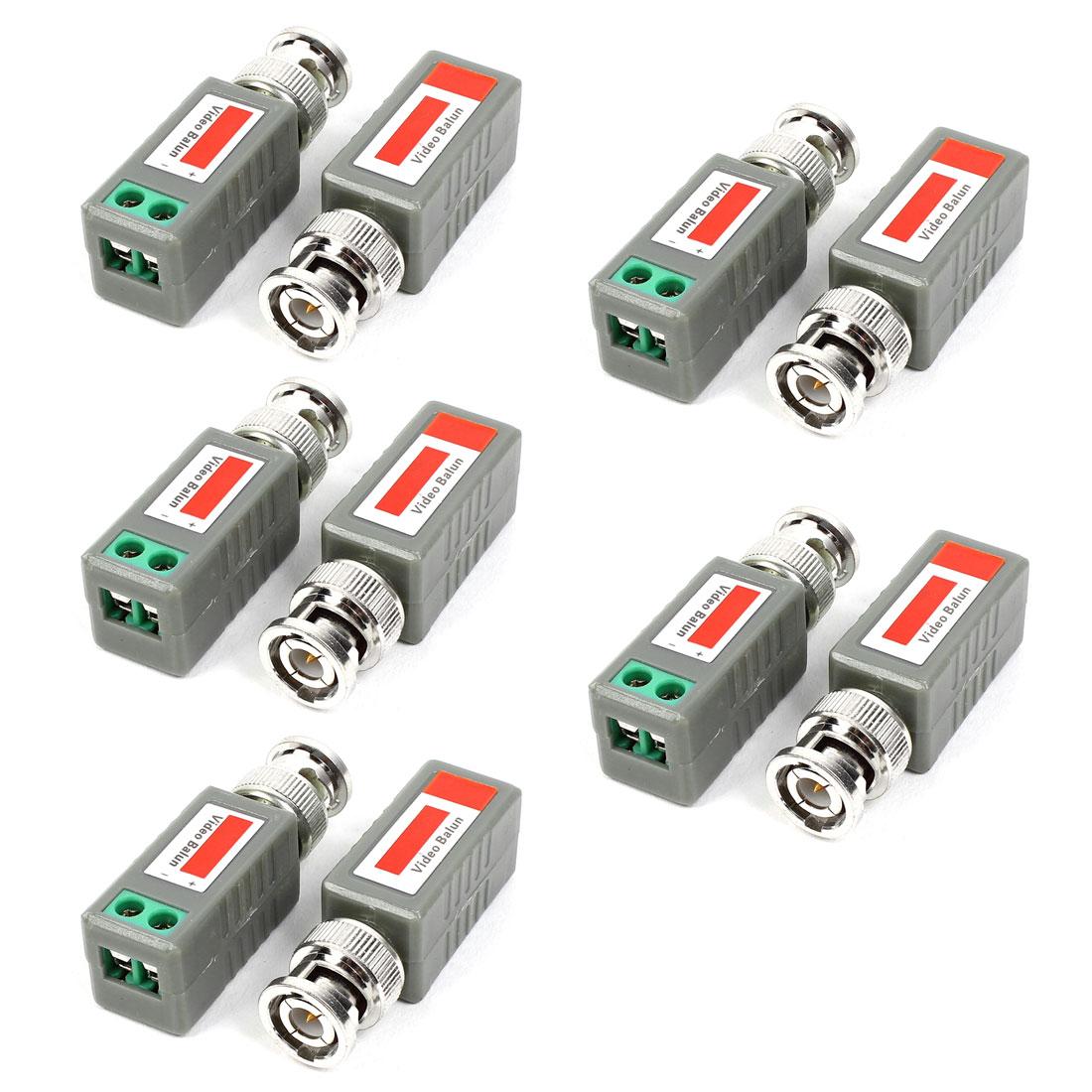 10pcs BNC Male Connector to AV Screw Terminal Plug Adapter Video Balun Transceiver