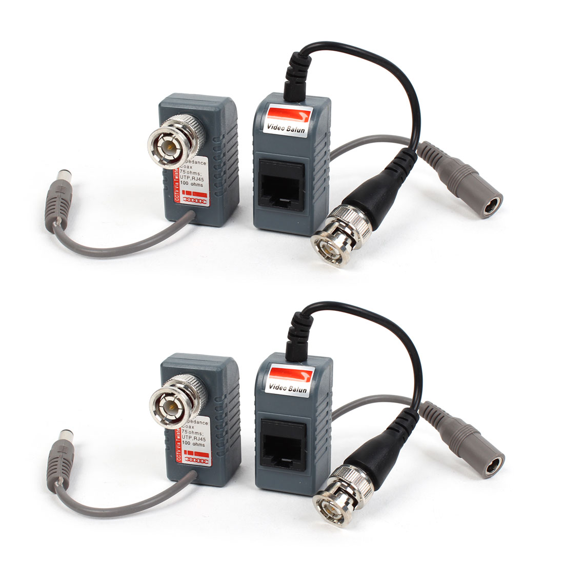 2 Pair BNC Male to RJ45 DC Power Converter Audio Video Balun for CCTV PTZ Camera