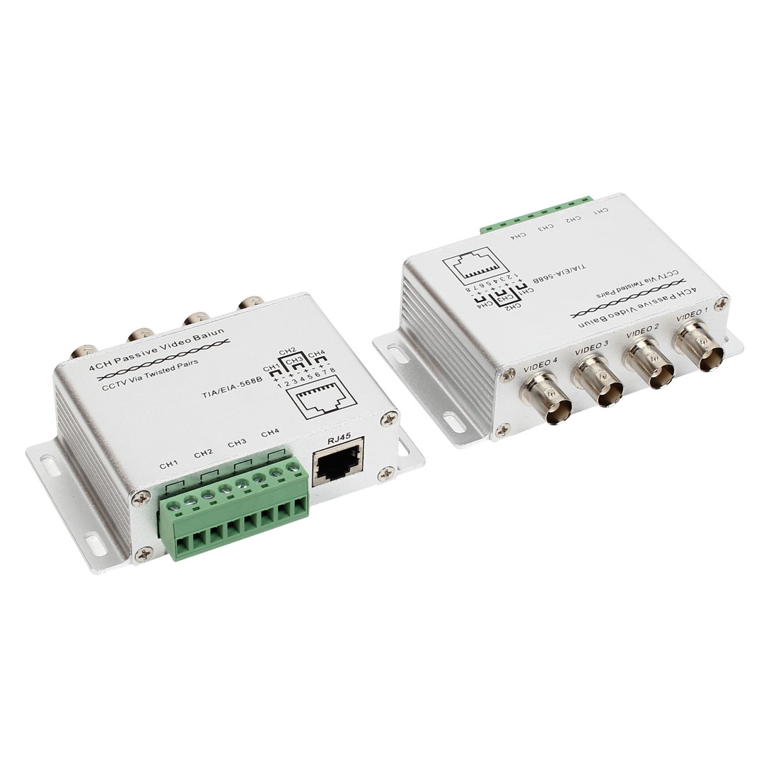 TIA/EIA-568B 4CH Passive UTP Video Balun Transceiver CCTV Via Twisted Pairs