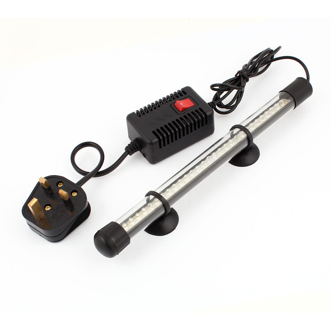 UK Plug AC 220V-240V Aquarium Submersible Blue 31 LED Lamp Bar w Adapter