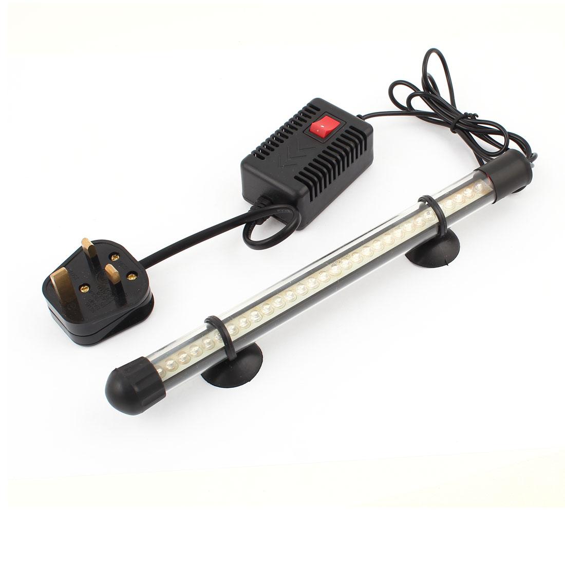 UK Plug AC220-240V 1W Fish Tank Decor 3 Colors Light 32 LED Submerged Lamp