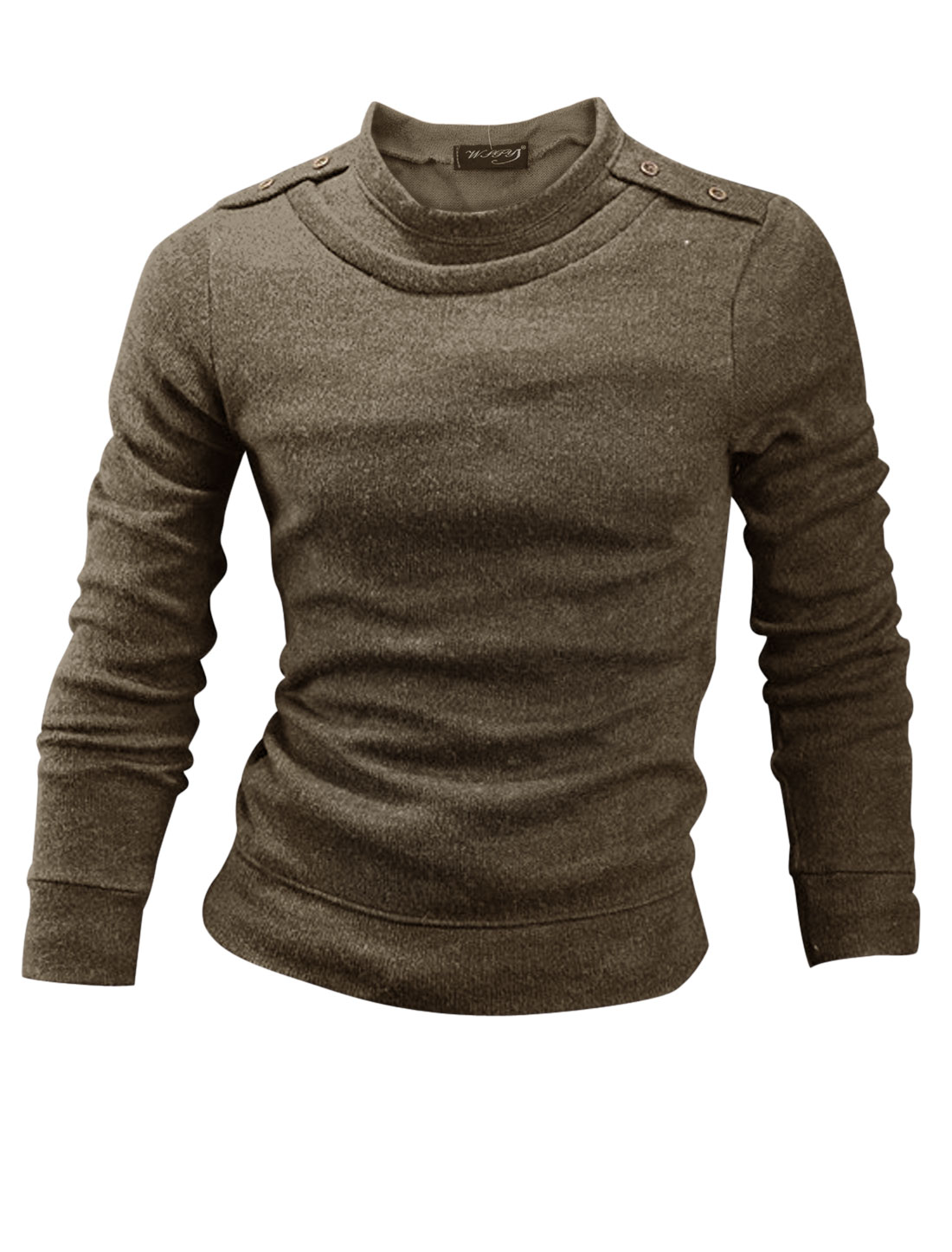 Men Round Neck Button Tab Shoulder Casual Knit Shirt Coffee M