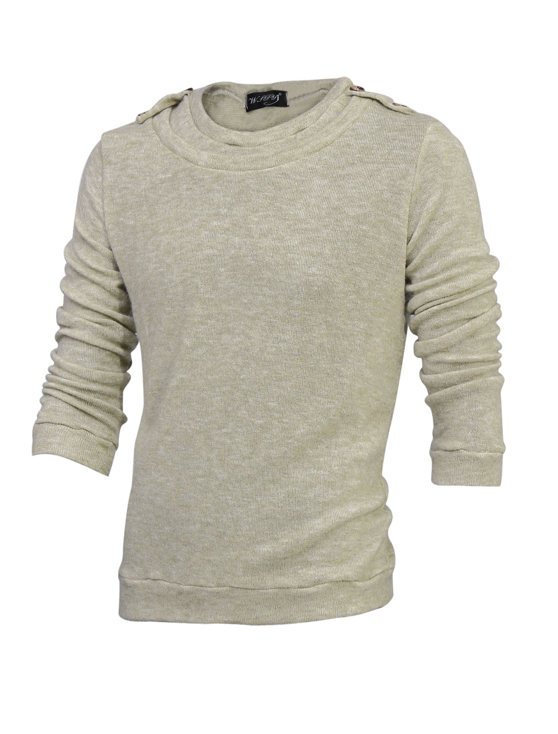 Men Cozy Fit Round Neck Button Tab Shoulder Knit Shirt Beige M