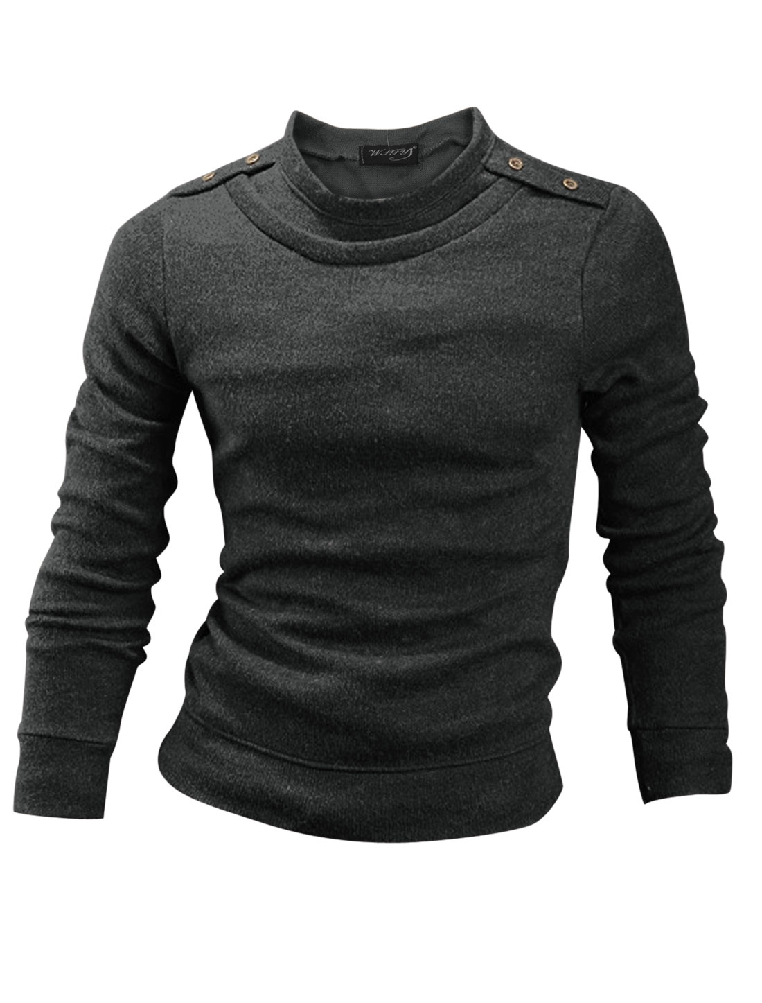Men Cozy Fit Pullover Button Tab Shoulder Knit Shirt Dark Gray M