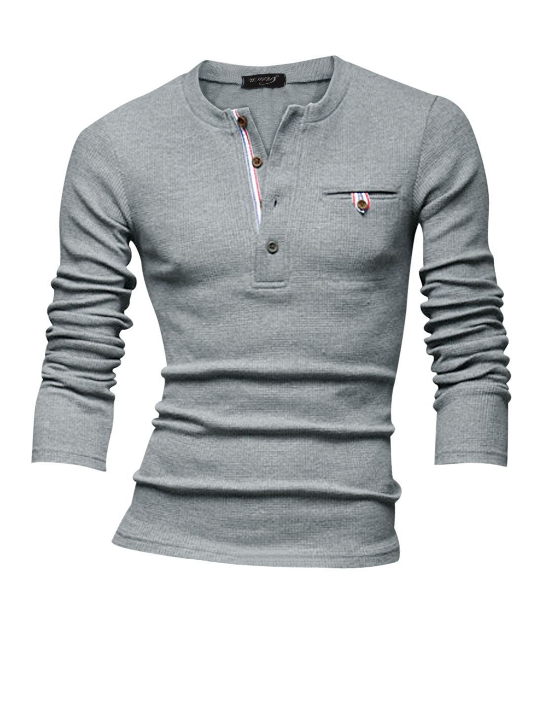 Men Round Neck Mock Pocket Design Casual Henley Sweatshirt Light Gray M