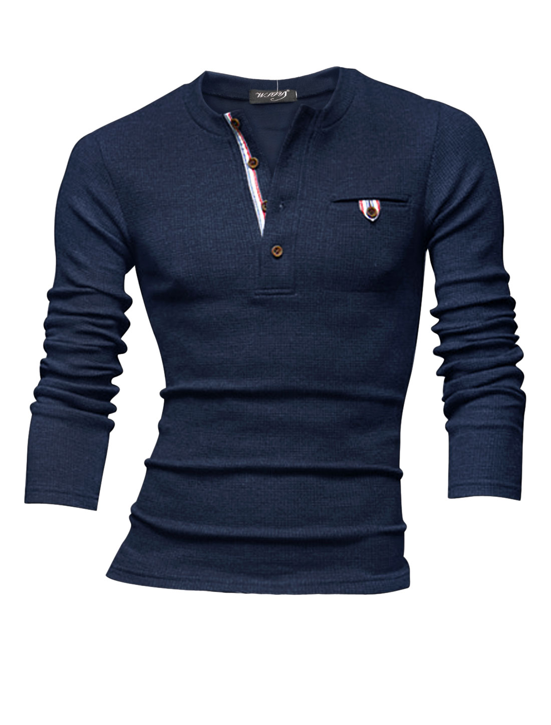 Men Long Sleeve Mock Pocket Design Casual Henley Sweatshirt Dark Blue M
