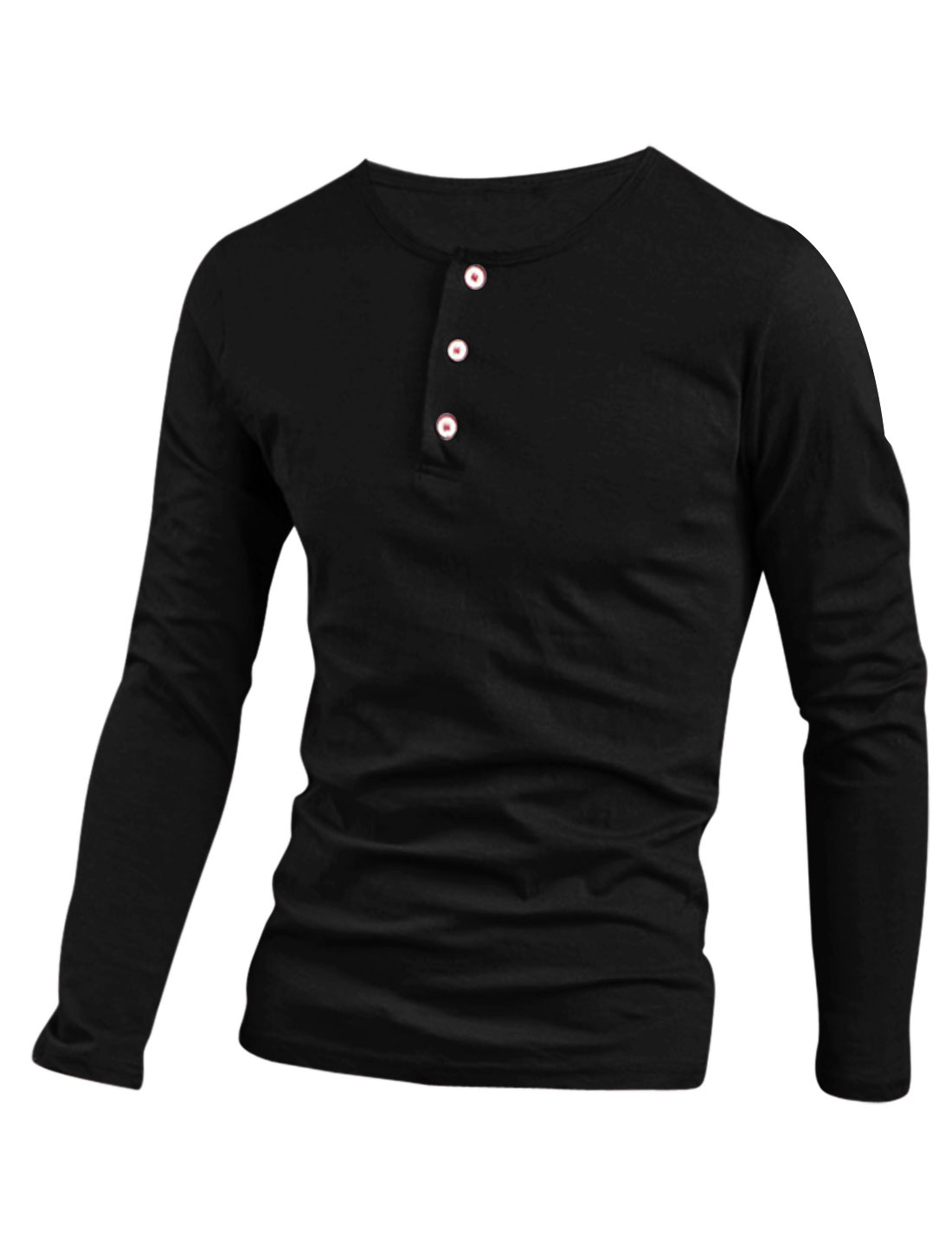 1/4 Placket Long Sleeve Casual Henley Shirt for Men Black M
