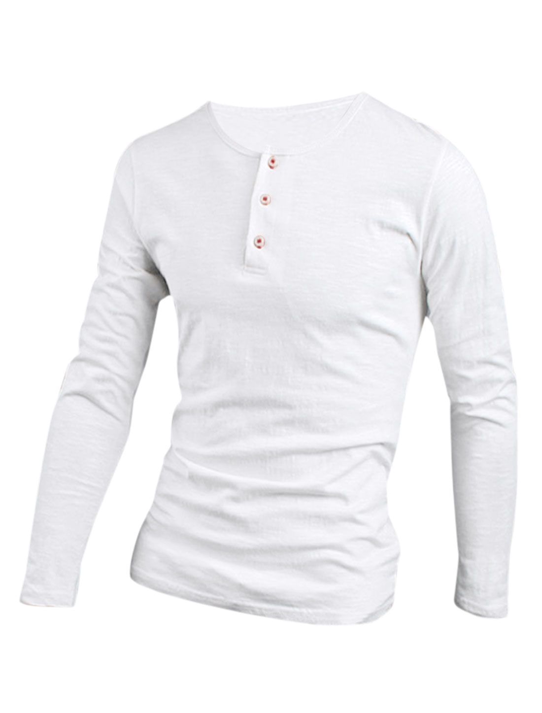Soft 1/4 Placket Casual Henley Shirt for Men White M