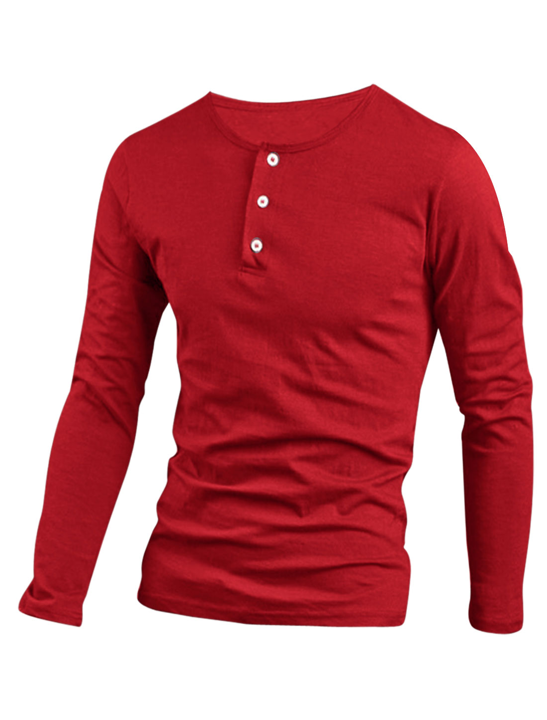Soft 1/4 Placket Design Henley Shirt for Men Red M