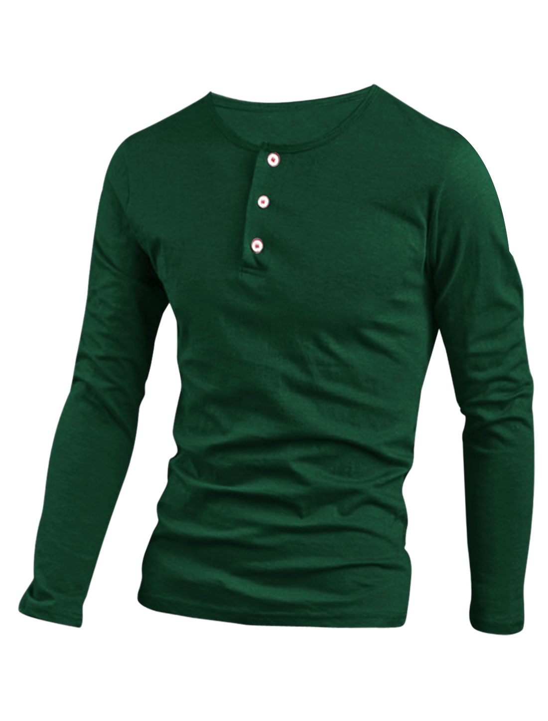 Men Stretchy 1/4 Placket Pullover Design Henley Shirt Dark Green M