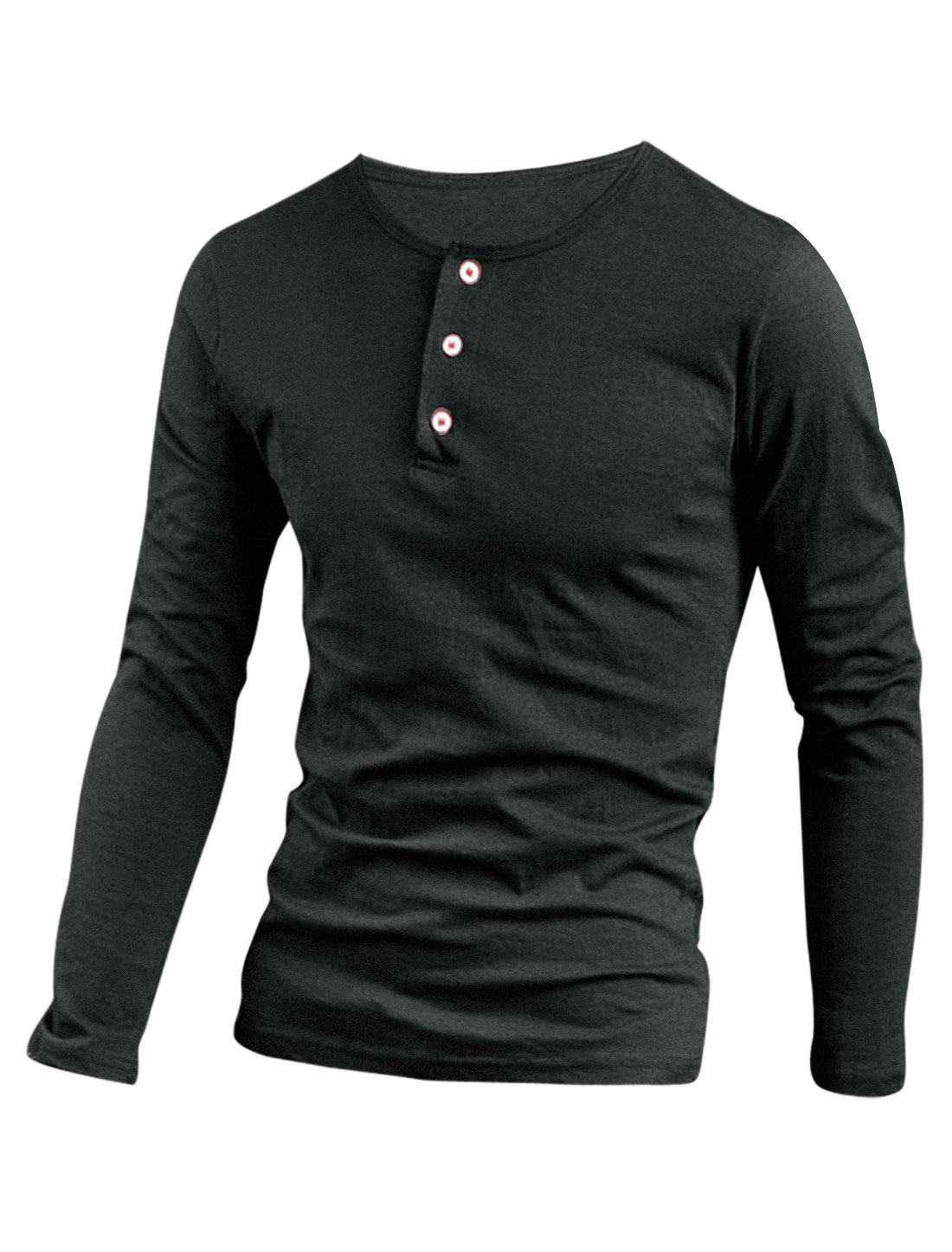 Men Stretchy 1/4 Placket Round Neck Henley Shirt Dark Gray M