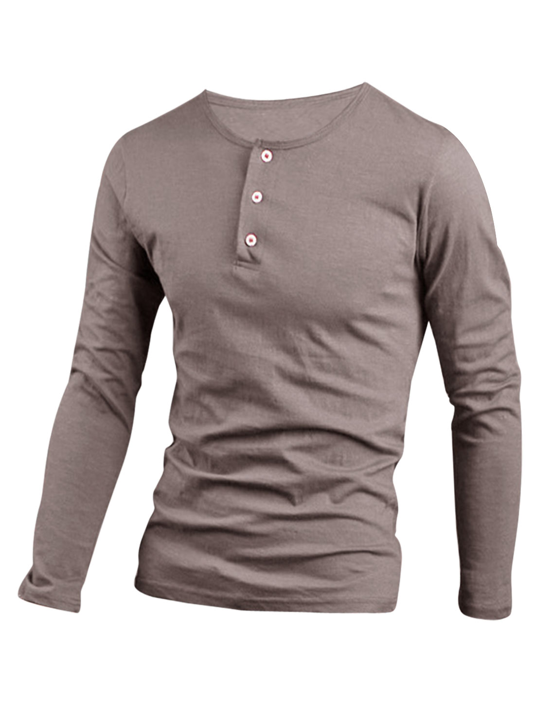 Men Stretch Three Buttons Closed Round Neck Henley Shirt Khaki M