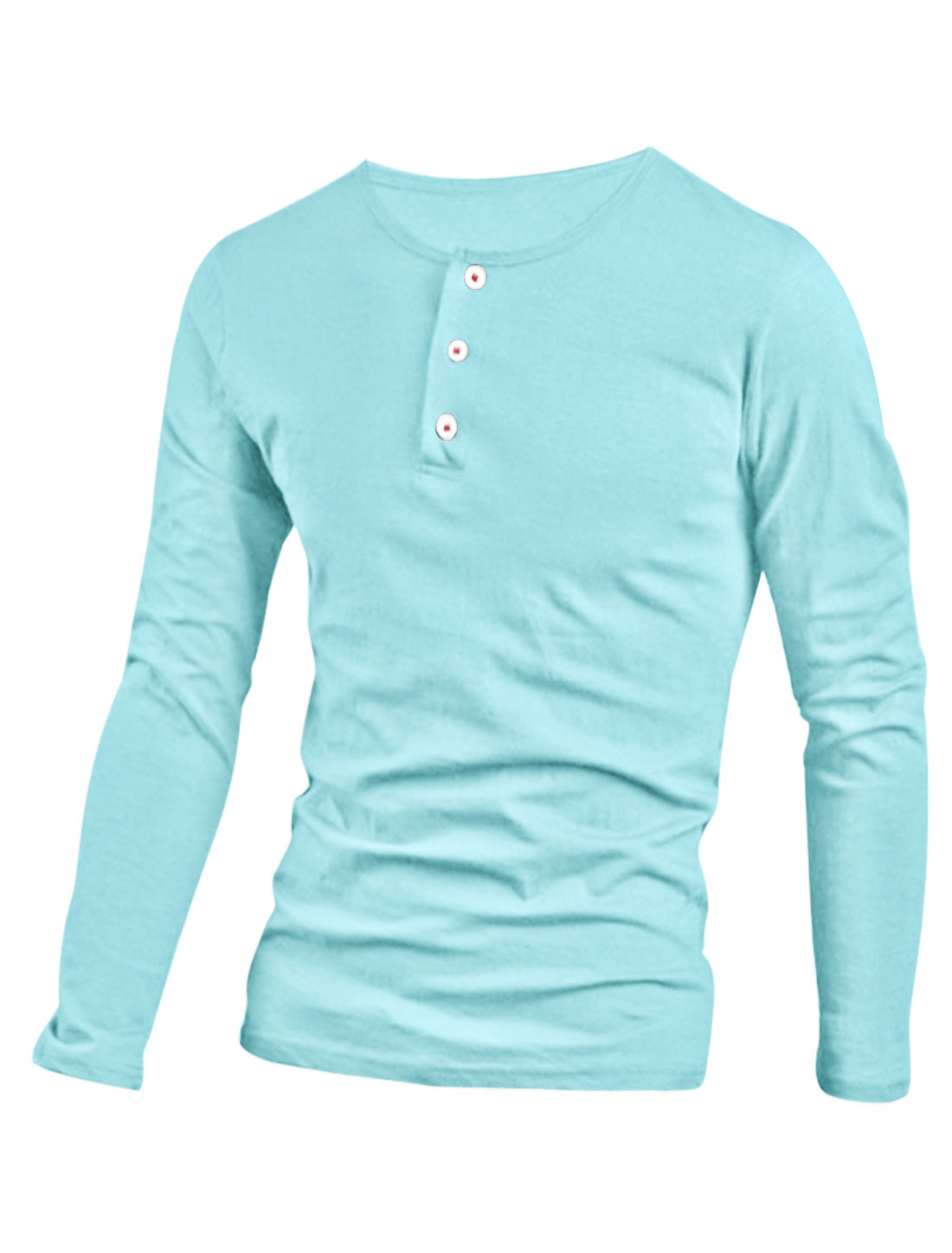 Men Casual Slim Fit Tunic Button Down Long Sleeve Henley Tee T Shirts Sky Blue M