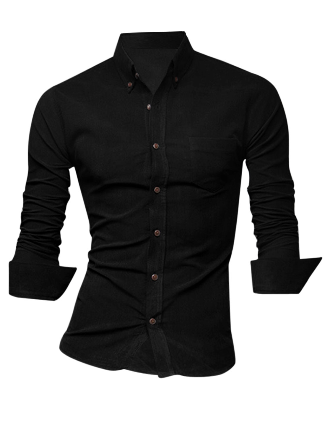 Men Single Breasted Single Chest Pocket Round Hem Slim Casual Shirt Black M