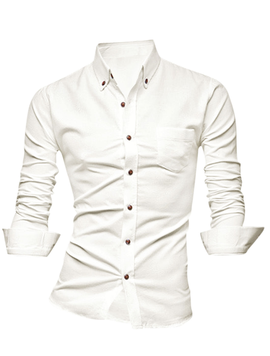 Men Point Collar Single Breasted One Chest Pocket Casual Shirt White M