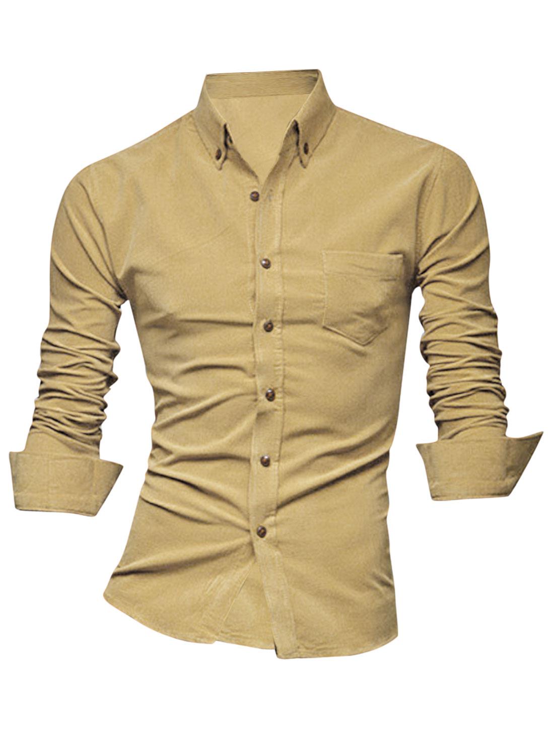 Men Point Collar Button Closure Front Casual Shirt Khaki M