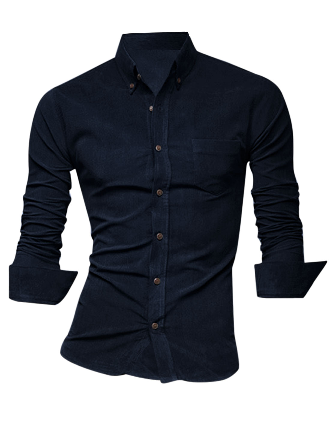 Men Slim Button Closure Front Round Hem Casual Shirt Navy Blue M