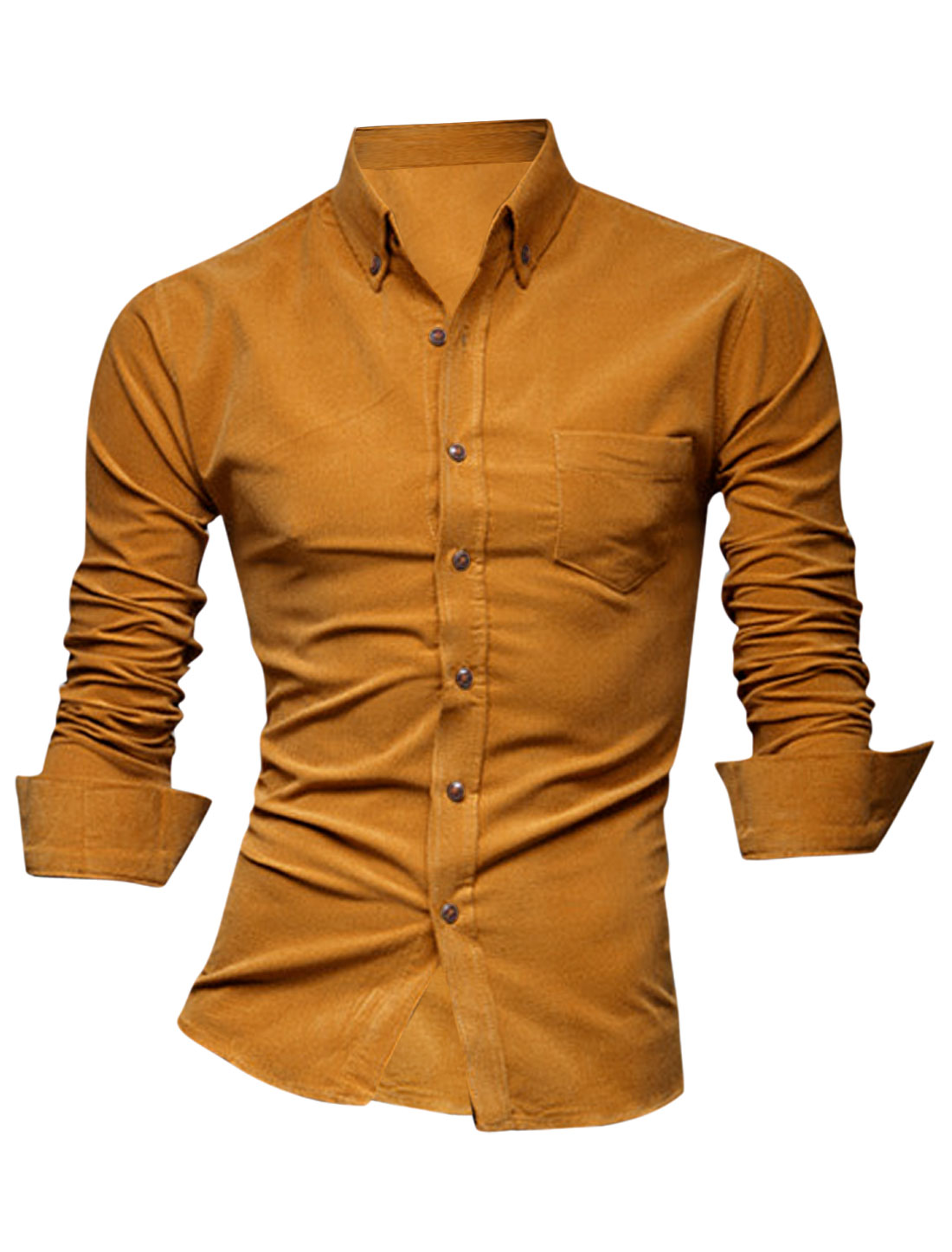 Men Single Chest Pocket Buttoned Front Casual Shirt Ochre M