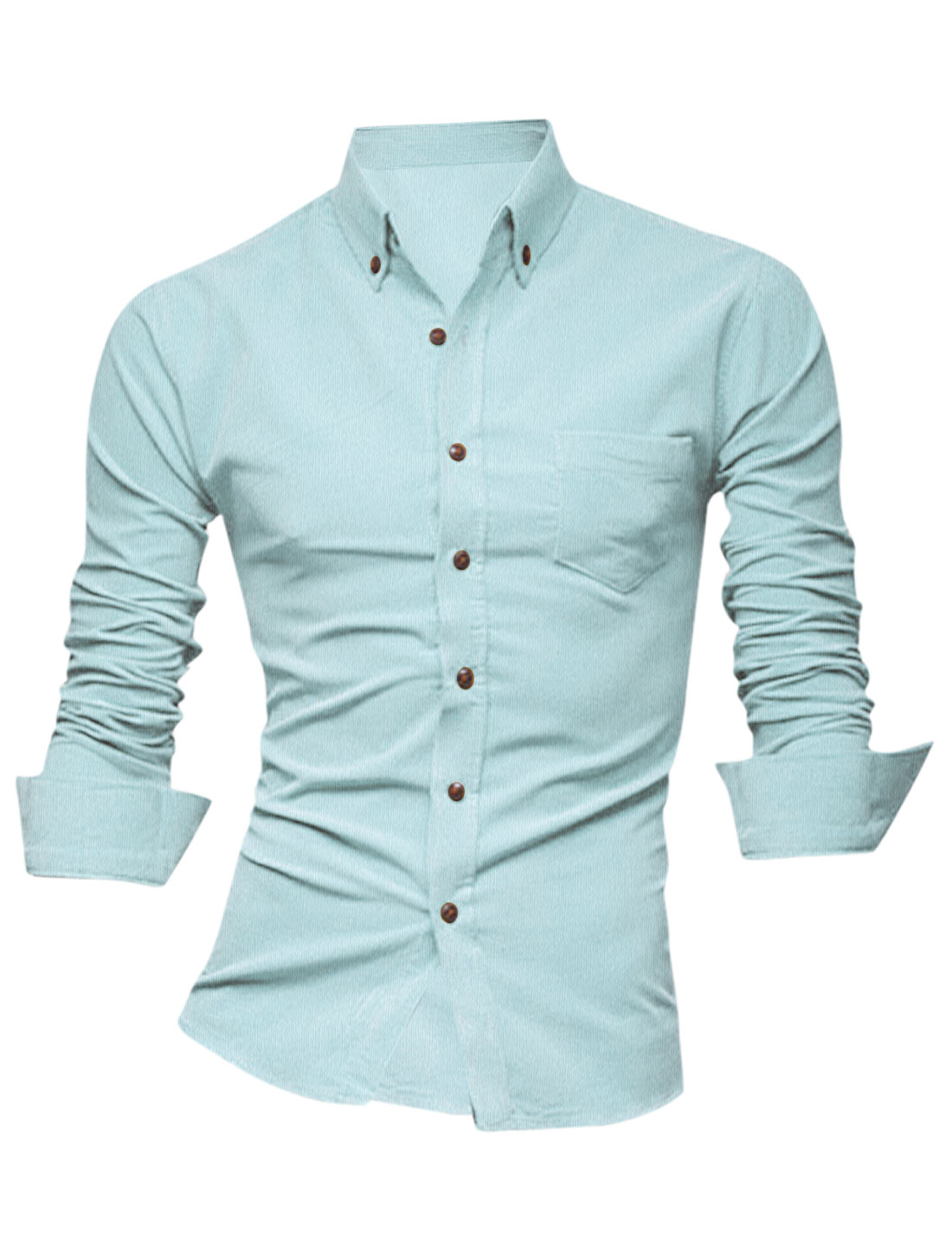 Men Multi Buttons Closure Cuff Round Hem Casual Shirt Light Blue M