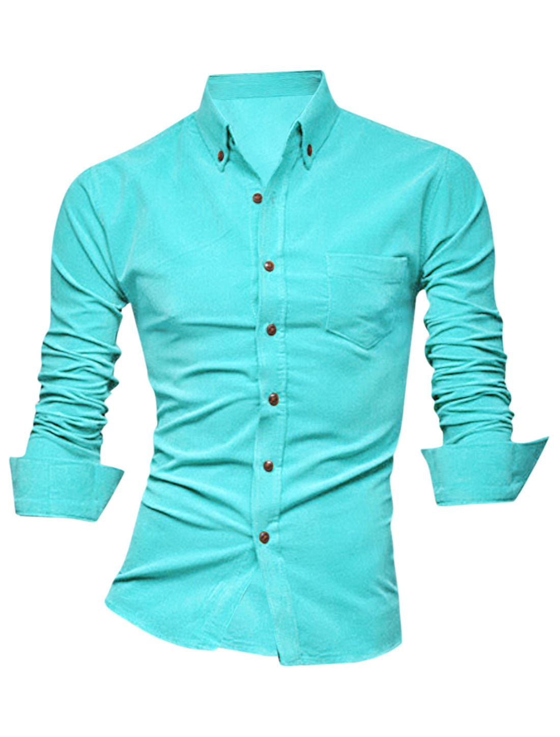 Men Button Down Closure Long Sleeve Leisure Shirt Aqua M