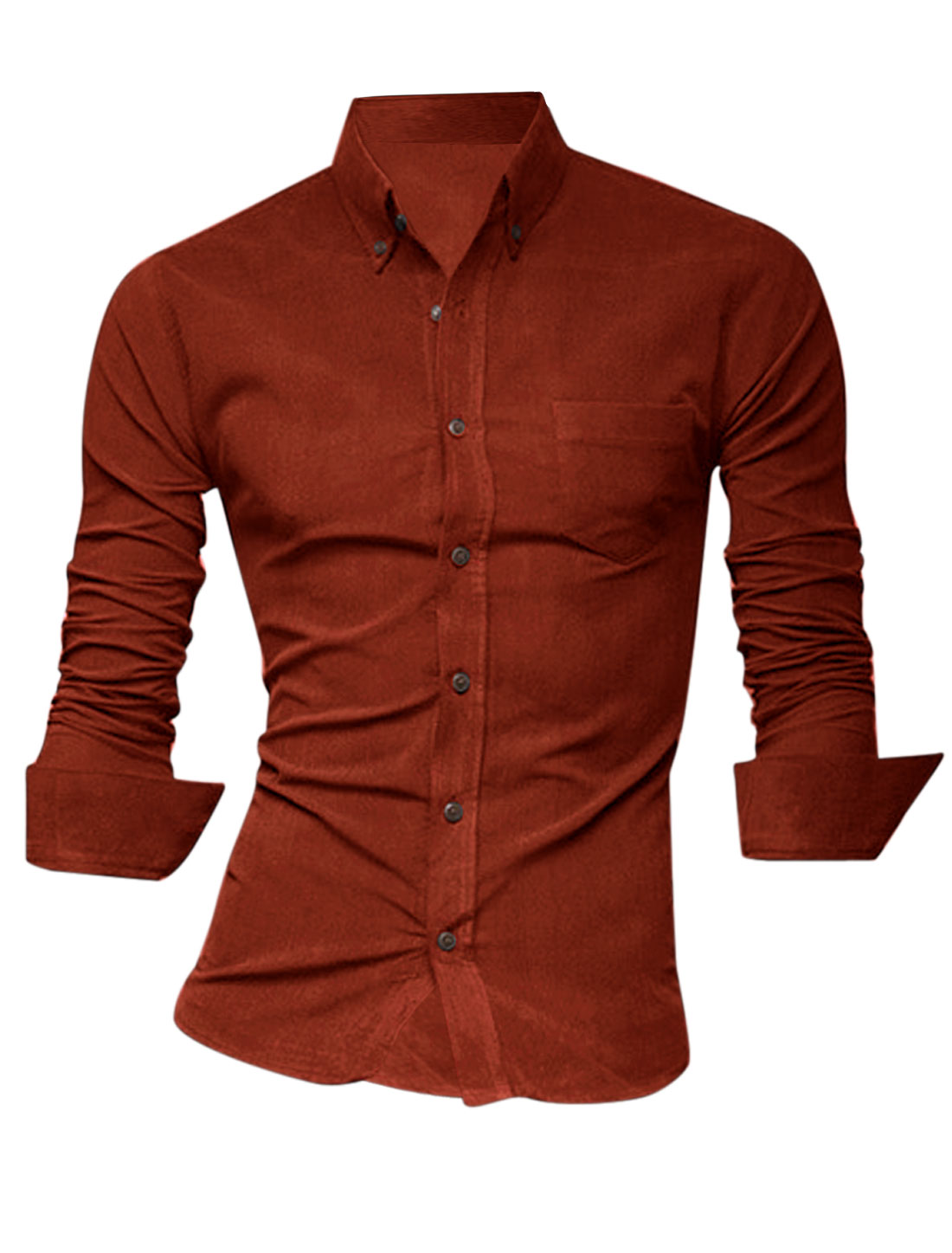 Men Point Collar Single Breast Pocket Leisure Shirt Orange Red M
