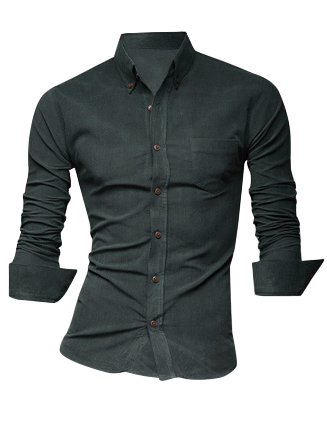 Men Simple Style Buttoned Front Chest Pocket Fitting Shirt Dark Gray M