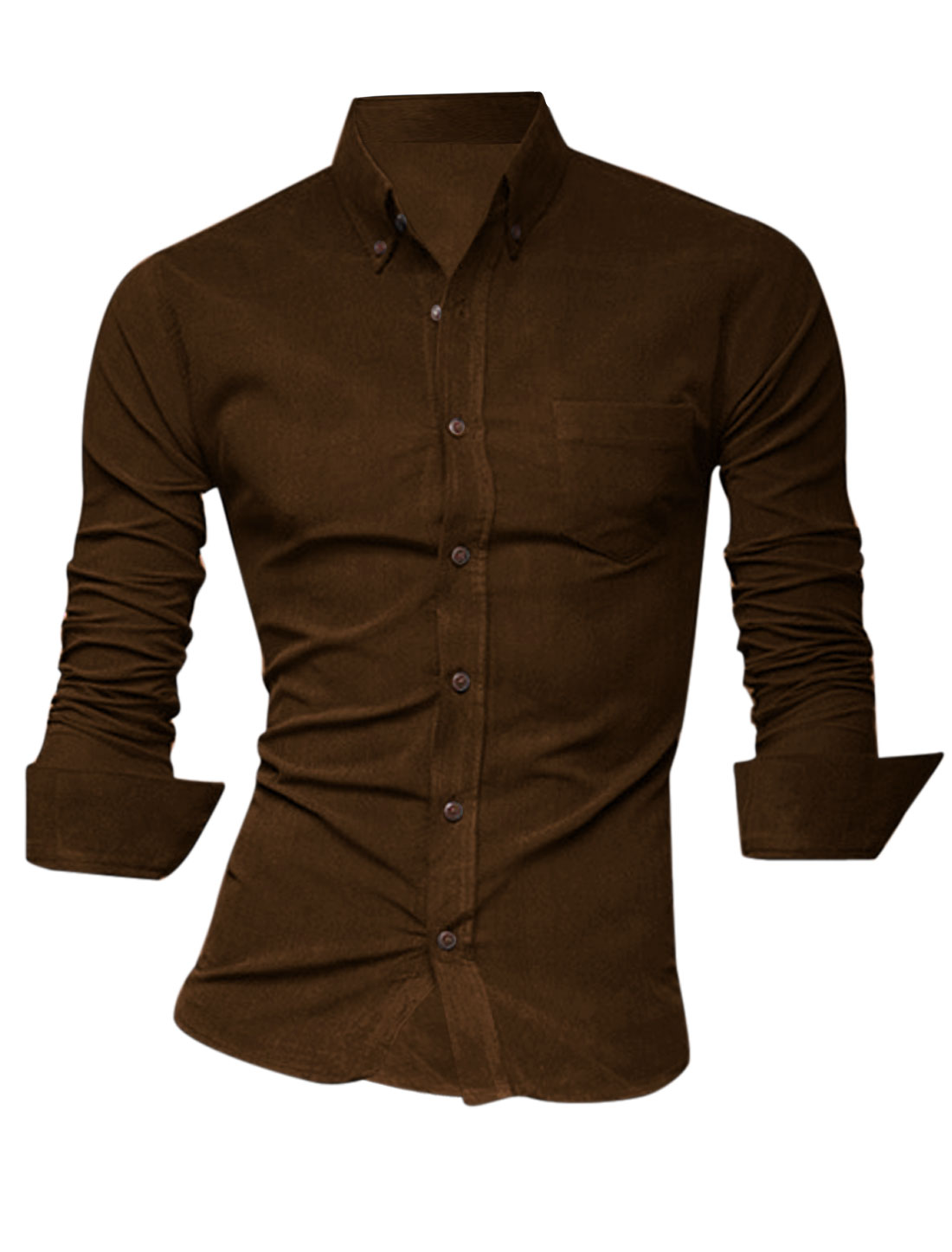 Men Fashion Style Button Closure Front Casual Shirt Coffee M