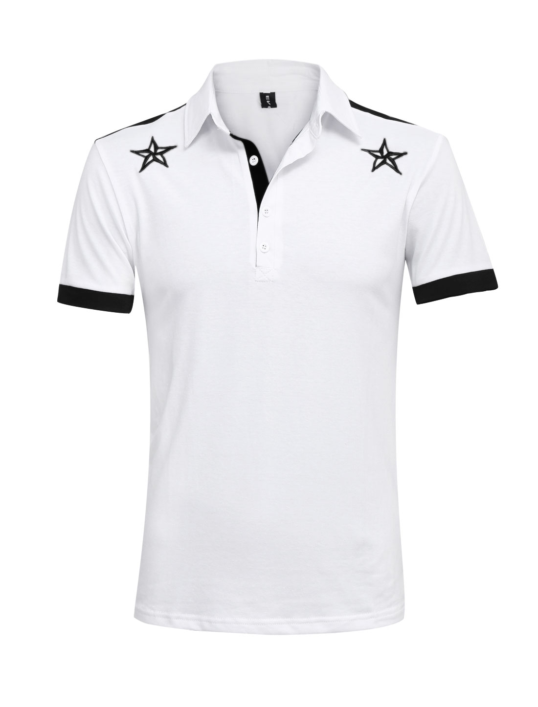 Men Patched Detail Stars Embroidery Leisure Polo Shirt White M
