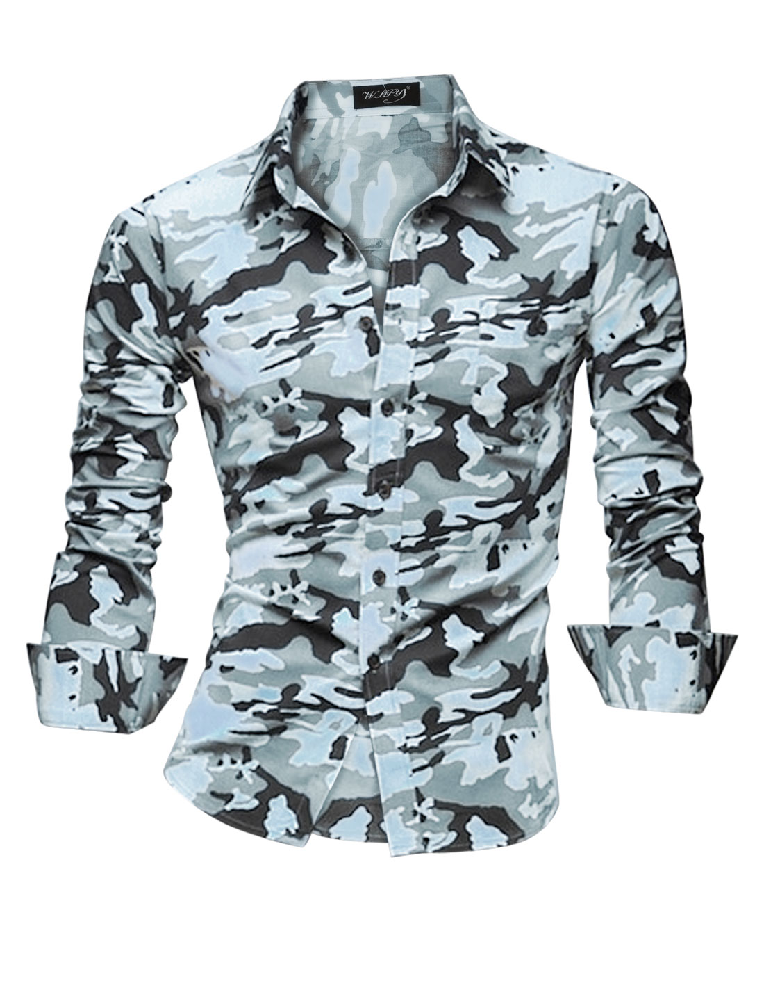 Men Point Collar Camouflag Pattern Single Breasted Casual Shirt Light Blue M