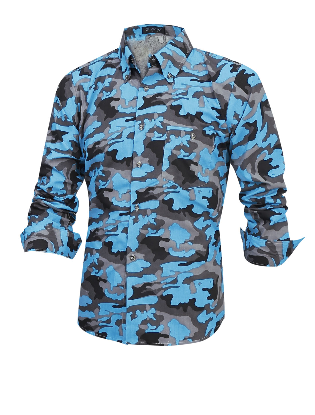 Men Long Sleeve Camouflag Pattern Single Breasted Leisure Shirt Blue M