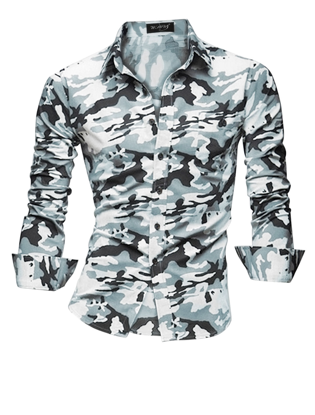 Slim Fit Point Collar Camouflag Pattern Casusl Shirt for Man White M