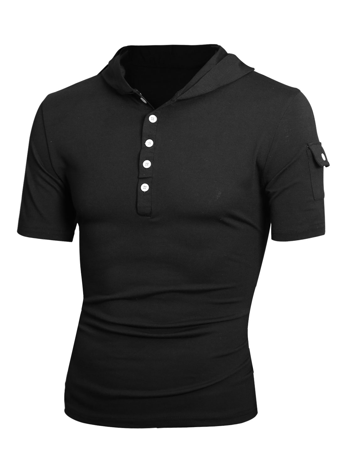 Men Hood Half Buttoned Front One Button Closure Sleeve Pocket T-shirt Black M