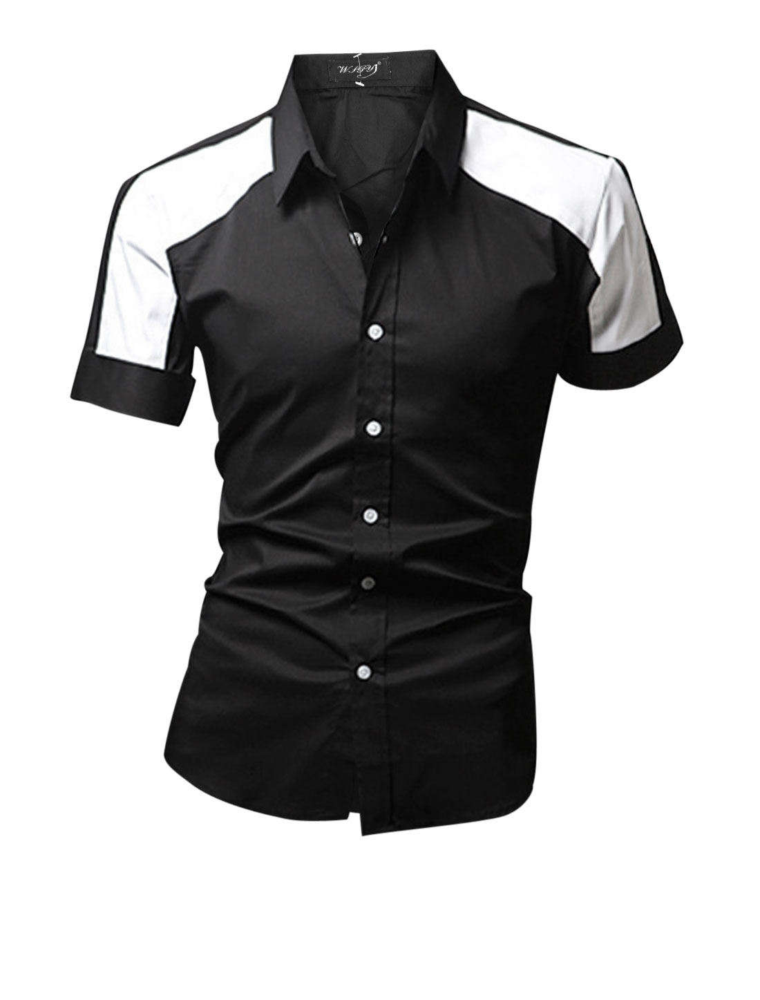 Men Point Collar Single Breasted Color Block Casual Shirt Black M