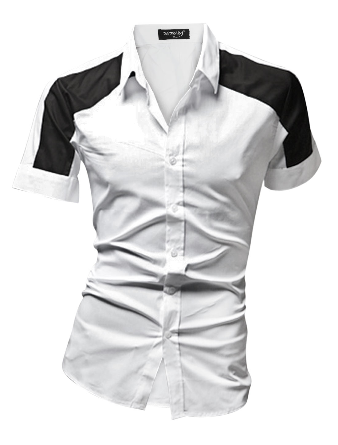 Men Short Sleeve Single Breasted Color Block Casual Shirt White M