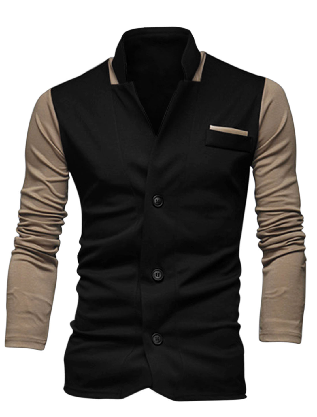 Men Single Breasted Contrast Color Mock Chest Pocket Slim Blazer Black M