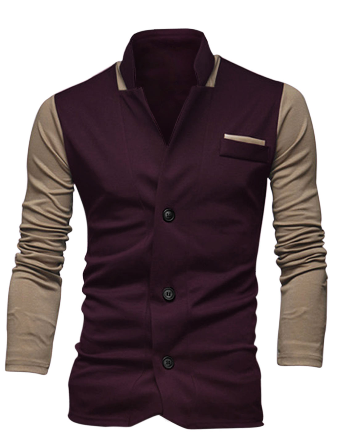 Men Fashion Style Color Block Slim Casual Blazer Dark Purple M
