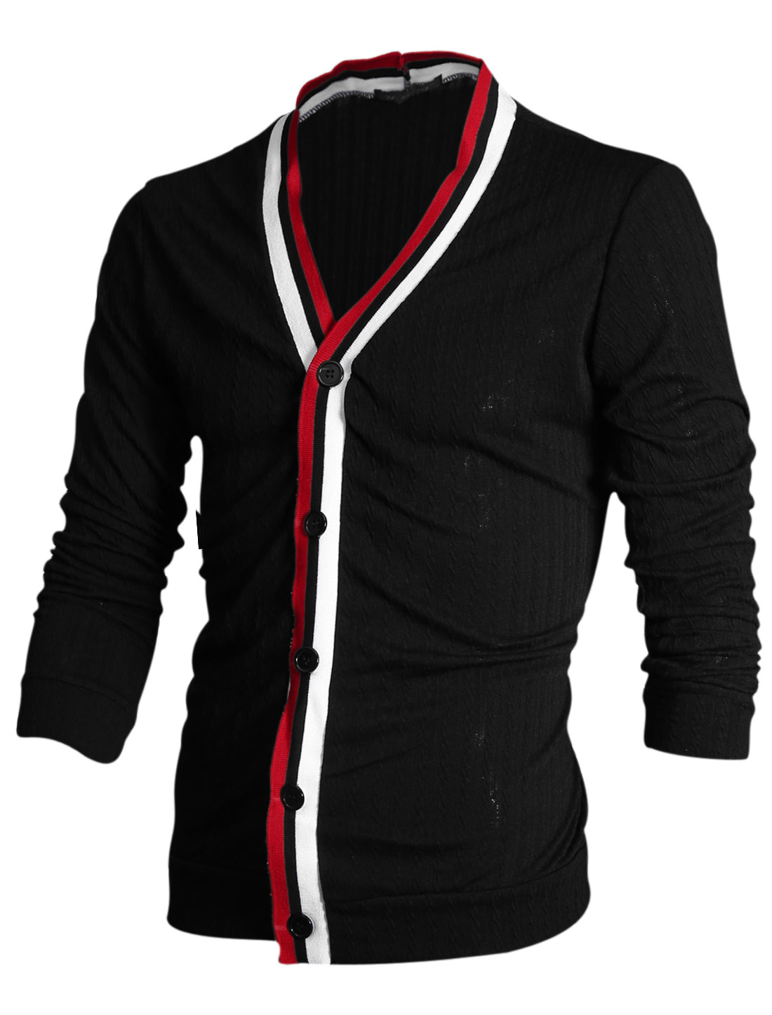 Men V Neck Long Sleeve Textured Design Fashion Cardigan Black M