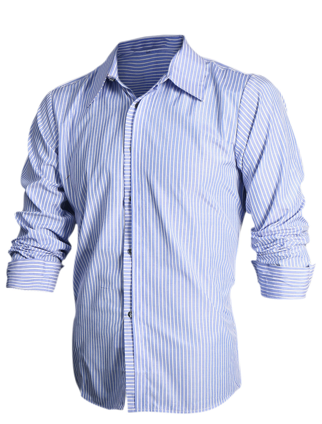 Men Vertical Stripes Pattern Button-Front Slim Fit Top Shirt Light Blue White M