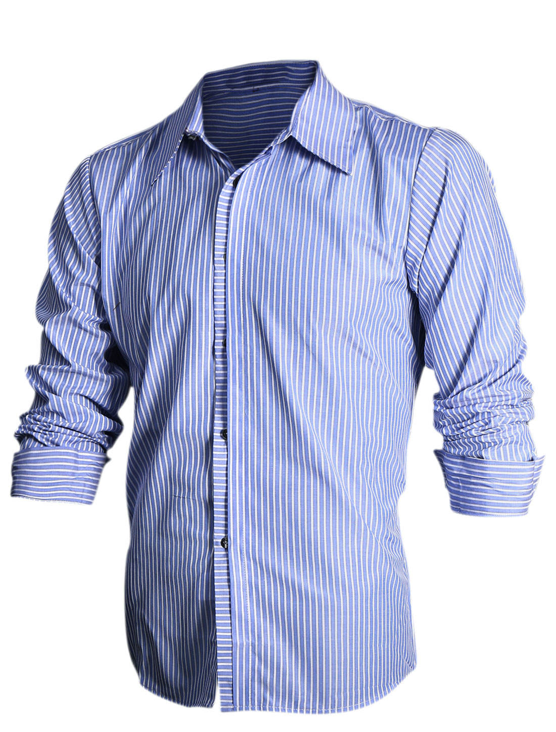 Men Vertical Stripes Buttoned Cuff Slim Fit Top Shirt Blue White M