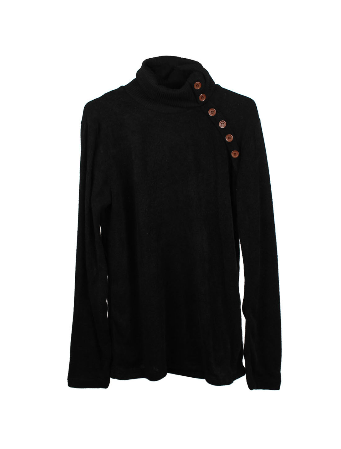 Men Autumn Turtle Neck Long Sleeve Buttons Decor Knit Shirt Black S