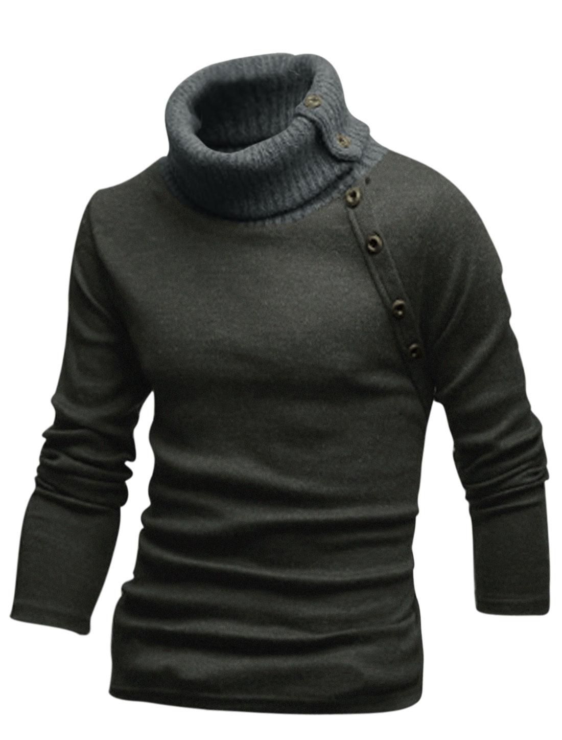 Men Cozy Fit Turtle Neck Buttons Decor Knit Shirt Dark Gray S