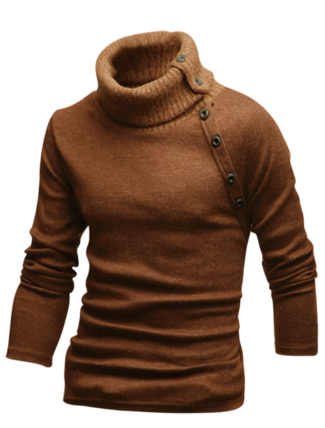 Men Cozy Fit Turtle Neck Stretch Knit Shirt Brown S