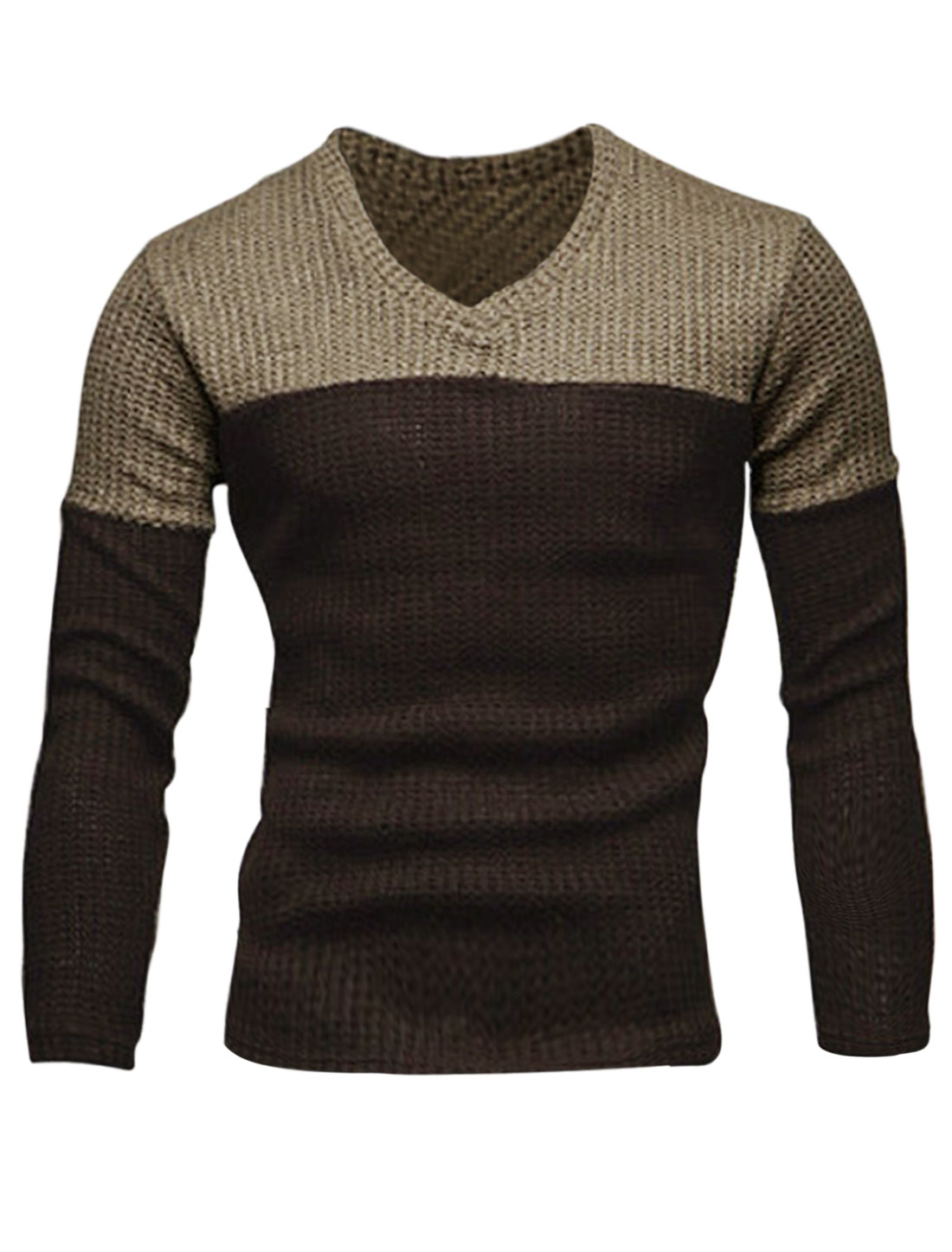 Men V Neck Long Sleeve Contrast Color Slim Casual Sweater Brown M