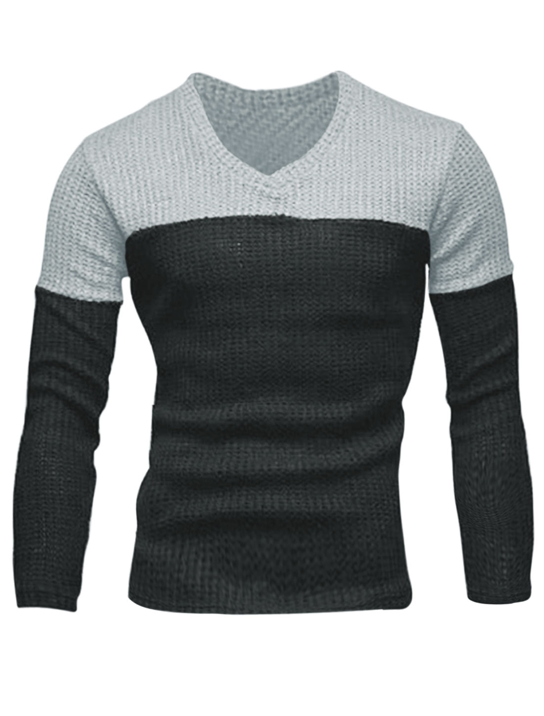 Men Fashion Style Color Block Slipover Casual Sweater Gray M
