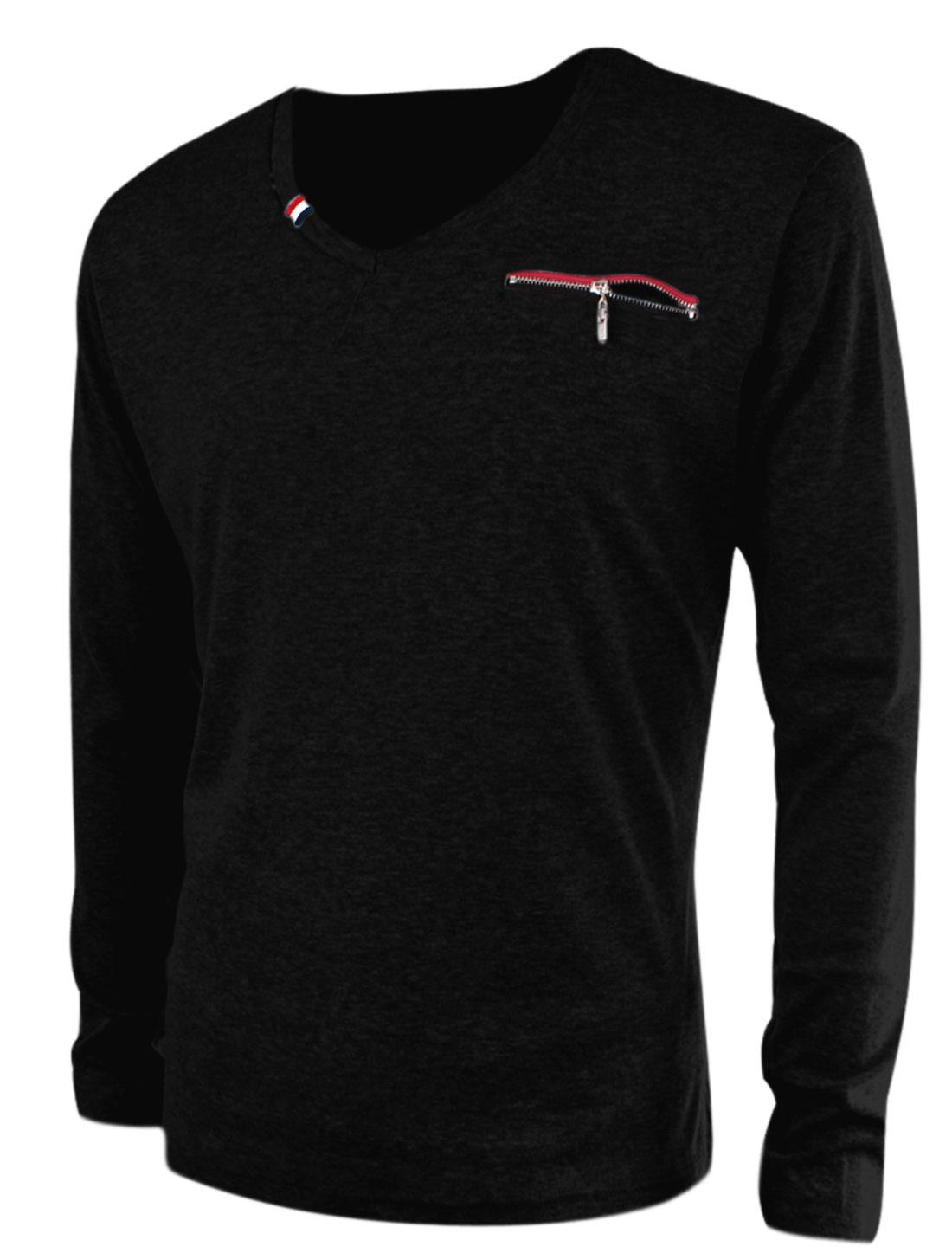 New Fashion V Neck Long Sleeve Stretch T-Shirt for Men Black M