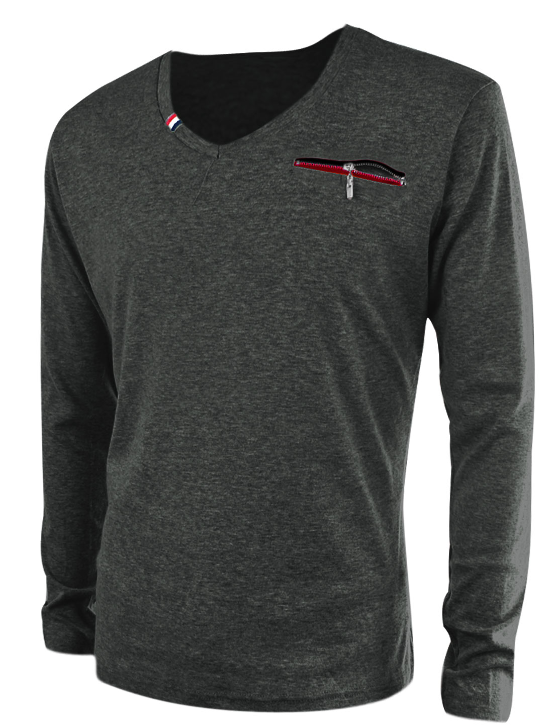 Fashion V Neck Fake Zip-Up Chest Pocket Shirt for Men Dark Gray M