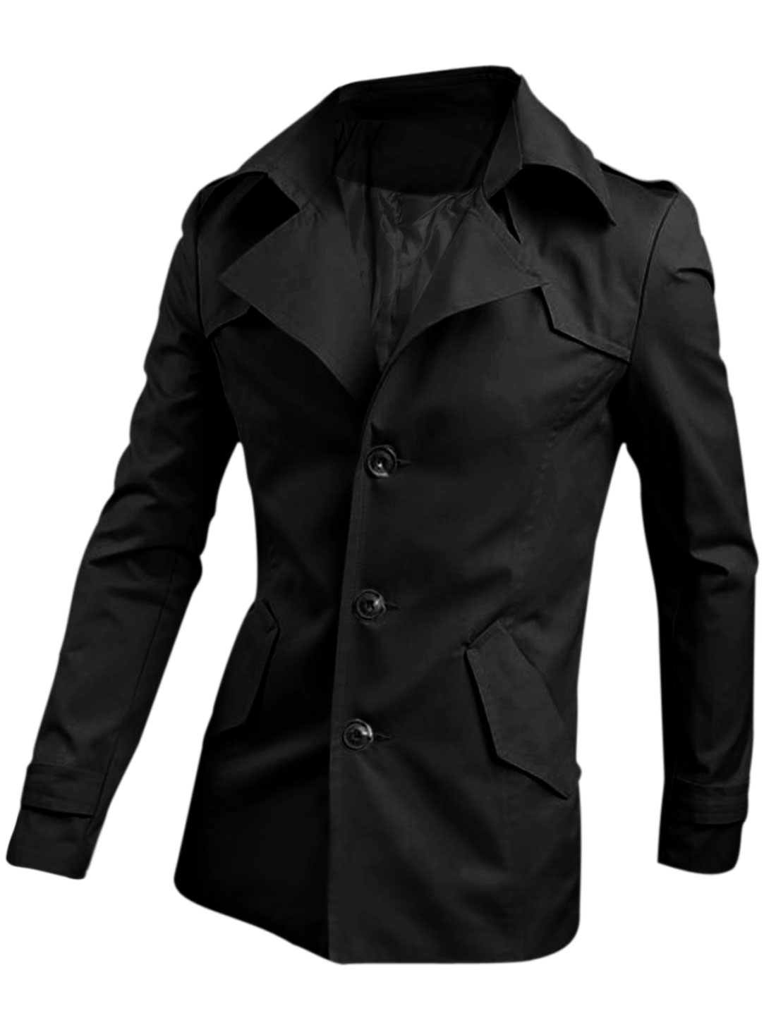 Men Notched Lapel Double Slant Pocket Cozy Fit Trenchcoat Black M