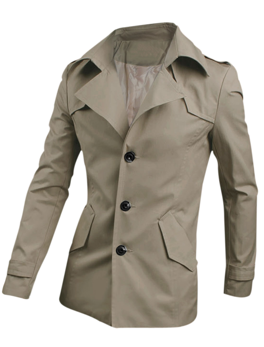 Slim Fit Notched Lapel Single Breasted Casual Trenchcoat for Men Khaki M